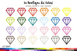 50 Rainbow Diamonds Clipart