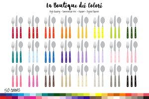 50 Rainbow Cutlery Clipart