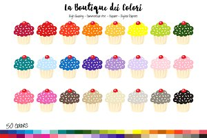 50 Rainbow Cupcake Clipart