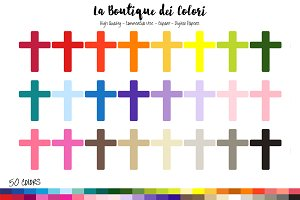 50 Rainbow Cross Clipart