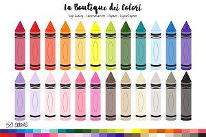 50 Rainbow Crayons Clipart