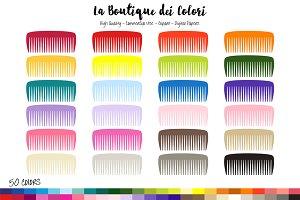 50 Rainbow Hair comb Clipart
