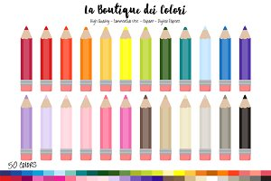 50 Rainbow Coloring Pencil Clipart