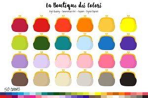 50 Rainbow Cute Coin Purse Clipart