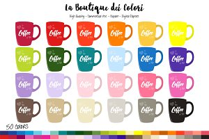 50 Rainbow Coffee Cup Clipart