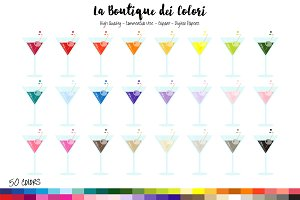 50 Rainbow Martini Clipart