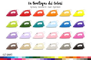 50 Rainbow Clothes Iron Clipart