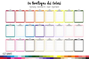 50 Rainbow Lined Clipboard Clipart