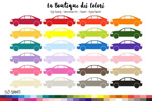 50 Rainbow Car Clipart
