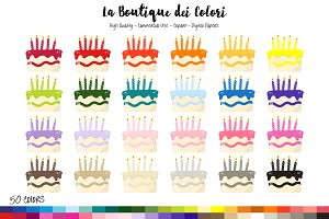 50 Rainbow Birthday Cake Clipart
