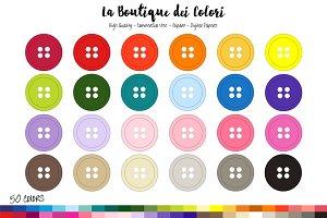50 Rainbow Buttons Clip art