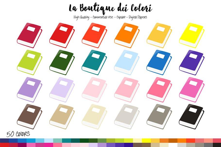 50 Rainbow Book Clipart