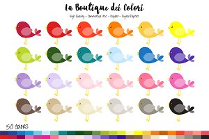 50 Rainbow Kawaii Bird Clipart