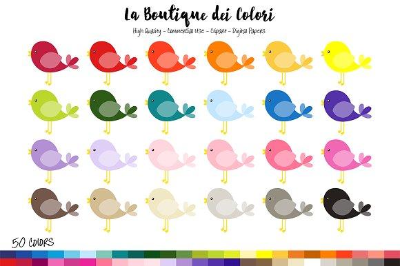 50 Rainbow Kawaii Bird Clipart