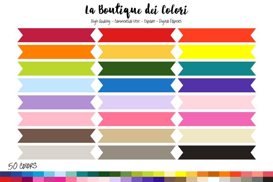 50 Rainbow Ribbon Banner Clipart