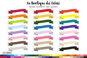 50 Rainbow Ribbon Banner Clipart