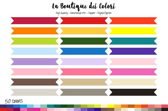 50 Rainbow Ribbon Banner Clipart in Illustrations