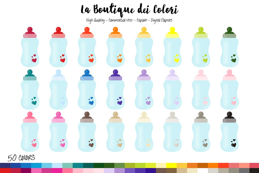 50 Rainbow Baby Bottle Clip art