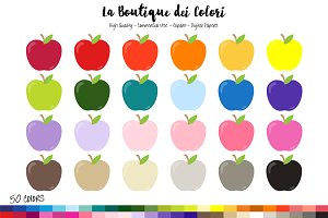 50 Rainbow Apple Clip art