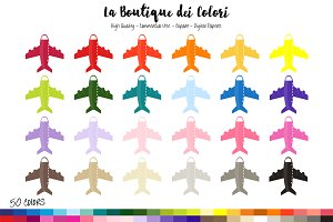 50 Rainbow Airplane Clipart