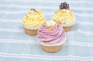 Three pastel cupcakes