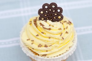 Cupcake with yellow icing