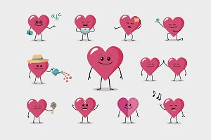 11 Funny heart characters - Set