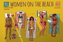Women on the beach. Vector set