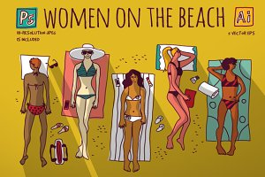 Women on the beach. Vector set