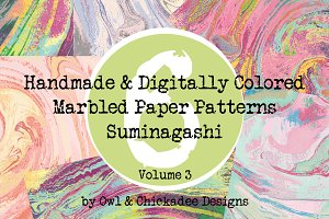 6 Handmade&Digitally-Colored Papers