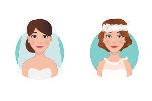4 Beautiful bride characters set