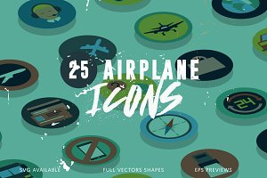 25 Airplane Travel Icons