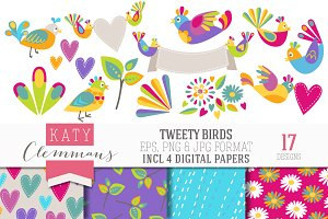 TWEETY BIRDS clip art & papers