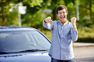 Happy guy with car keys