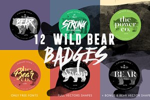 12 Wild Bear Badges