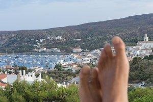 Man bare feet enjoying view