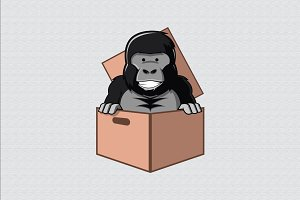 Gorilla Cartoon in Box Cardboard