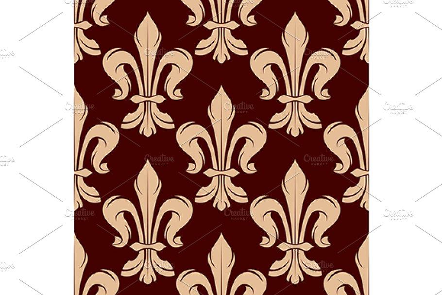 Seamless beige fleur-de-lis pattern