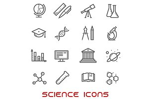 Science and education thin icons