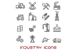 Industry and ecology thin line icons