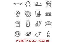 Restaurant and fast food thin icons