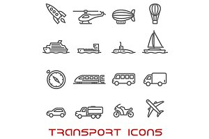 Thin line transportation icons set