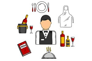 Waiter profession icons