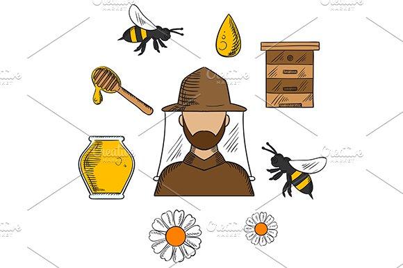 Beekeeping concept with beekeeper