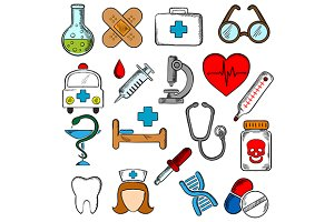 Medicine and medication icons set