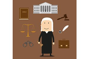 Judge with court and justice icons