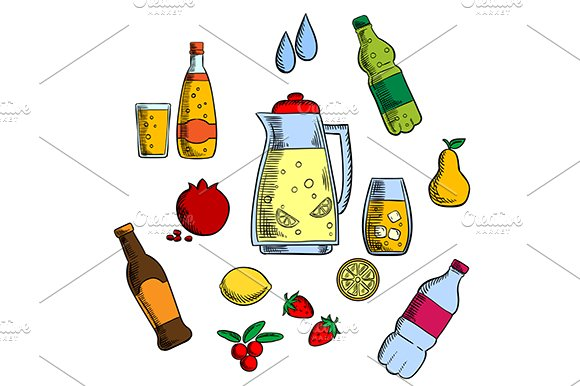 Beverages, alcohol and drinks set