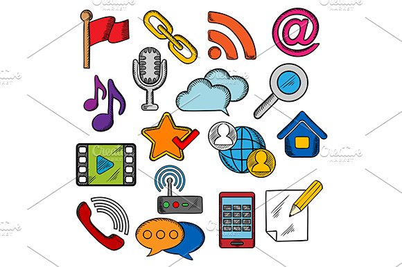 Multimedia and communication icons