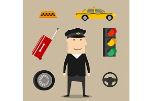 Taxi driver profession icons set