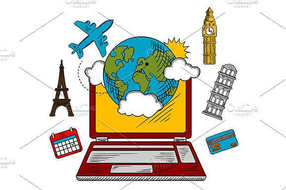 On-line travel and booking icons in Graphics